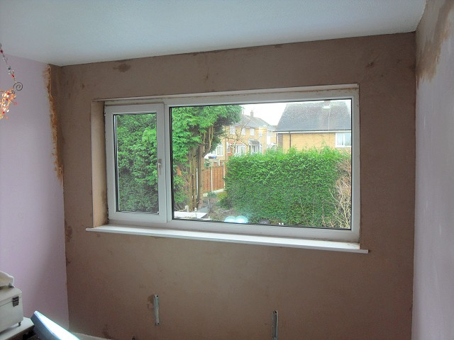 Re-plastered and ready for decorating once the plaster has dried out.